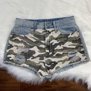 BDG Camo Front High Rise Dree Cheeky Jeans Shorts
